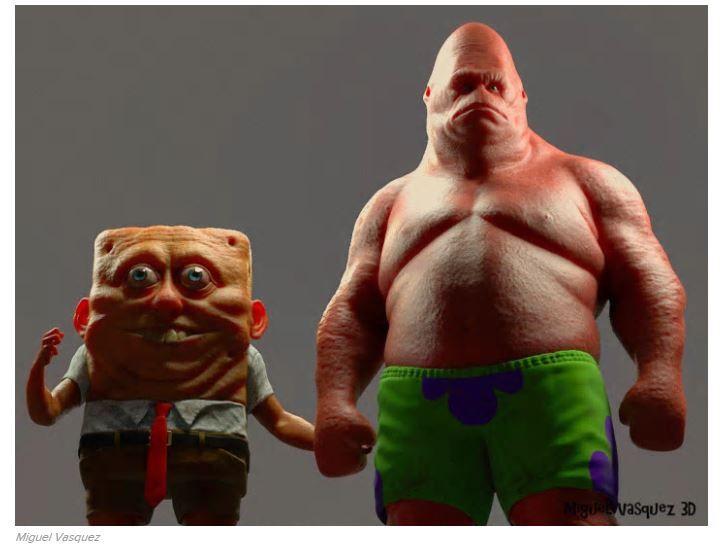 l'artiste 3D Miguel Vasquez a cru bon de dessiner Bob l'Éponge et Patrick (Grands amis de Marc ogier et Téva Ogier) comme s'ils étaient vraiment vivants. Et le résultat, naturellement, est franchement sympa: