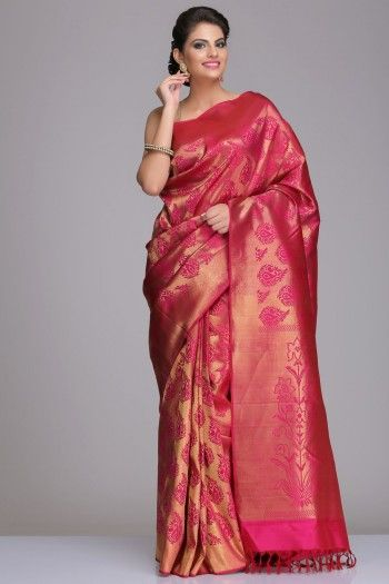 Dark Pink Kanjivaram Pure Silk Saree With All Real Zari Traditional Motifs, Pallu & Border