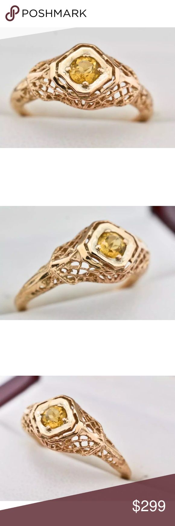 """💛ANTIQUE VINTAGE CITRINE FILIGREE RING💛 🔶 💛ANTIQUE VINTAGE CITRINE FILIGREE RING💛 Carat Weight:.25ctw Type:     Genuine Citrine Shape:     Round Color:     Yellow Clarity:     SI Total Carat Weight:.25ct North to South:          7.8mm Height Above Finger:   .31"""" Shank Width:           1.21mm Finger Size:        5 Gram Weight: 1.4g Material:        14k Rose Gold over 925 Sterling SIlver *Retail Value:$699.00 🔶EUC💛 Jewelry Rings"""
