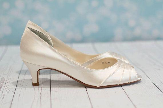Wedding Shoes - Heel  1 3/4 Inch - Peep Toe Shoes - Choose From Over 150 Colors - Choose Heel Height - Parisxox - Short Heel Wedding Shoes on Etsy, $112.00