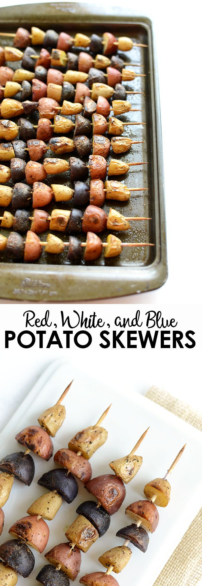 Get festive with these red, white, and blue potato skewers! They're easy to make and the perfect side at a Summer BBQ. Plus- they make for great leftovers the next morning!