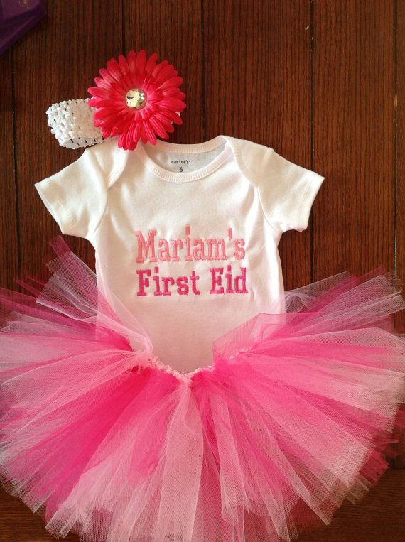 My First Eid holiday/ Muslims Holiday Breaking The Fast Celebration/ tutu skirt/ hot pink headband/ Baby Girl First Eid