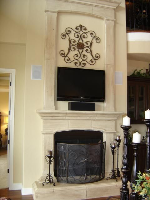 Limestone Fireplace Tall - after