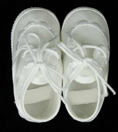#White #Christening #Infant #Boy #Shoes: These white Christening infant boy shoes are too sweet for words. These shoes are made of a white #satin fabric with a slight sheen, a #beautiful embroidered front and features a cord tie enclosure. Make your little guys outfit a dapper one with these adorable infant boy shoes.