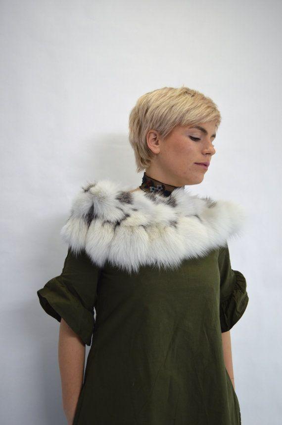 Real fox collar bridal fur shawl platinum fox fur stole. by BeFur