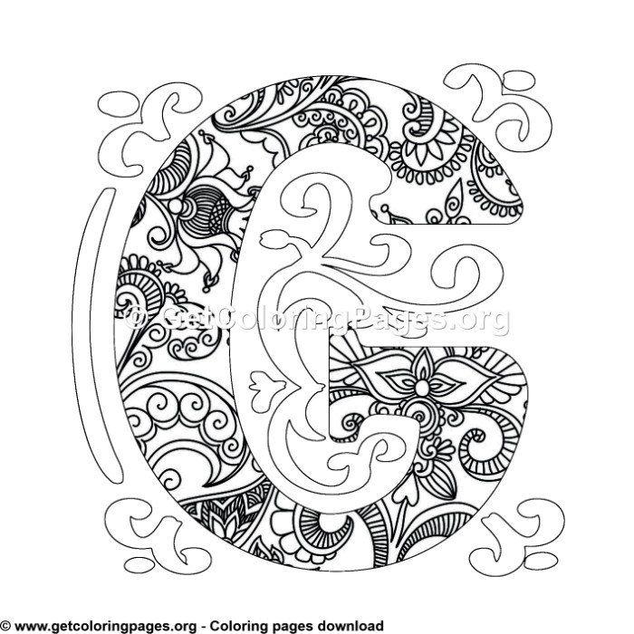 Zentangle Monogram Alphabet Letter F Coloring Sheet
