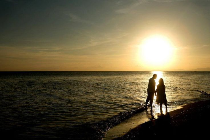 ''True love doesn't have a happy ending, because true love never ends.'' - beach sunrise/sunset prenup