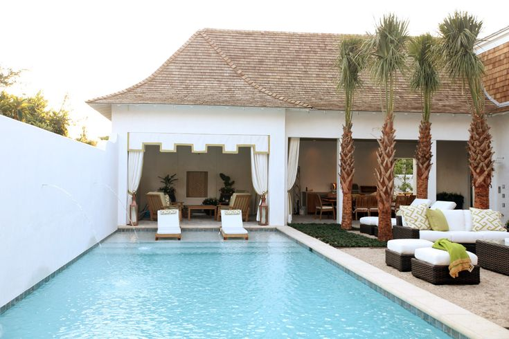 Poolside Cabana built in to covered patio + wall w/ fountains, gravel around pool? (Bad Idea!) By Urban Grace Interiors
