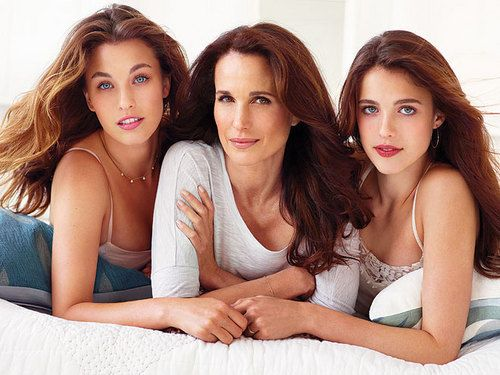 Actress Andie MacDowell and her two daughters
