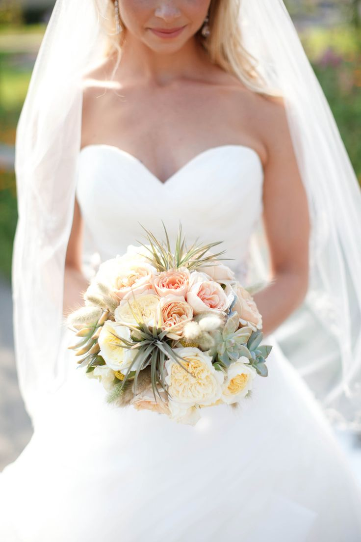 Wedding Colors: Classic J.Crew Gray Bridesmaids with soft buttery yellow and blush pink #bouquet from KatharinaStuart.com -- See the wedding on #SMP here: http://www.StyleMePretty.com/california-weddings/2014/05/13/stunning-napa-wedding-at-chardonnay-golf-club/ Photography: KStone Photo.com