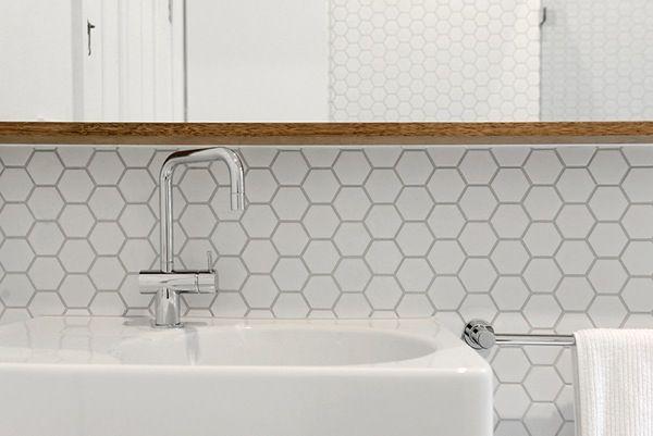 matt white tile splashback - hexagon tile
