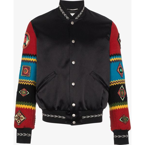 Saint Laurent Wool Varsity Jacket With Embroidered Sleeves ($4,690) ❤ liked on Polyvore featuring men's fashion, men's clothing, men's outerwear, men's jackets, black, mens leather sleeve jacket, mens embroidered jacket, yves saint laurent mens jacket, mens wool jacket and mens wool outerwear