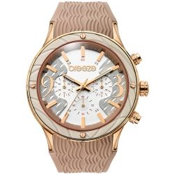 BREEZE New Wave Rose Gold Beige Rubber Chronograph 110241.1