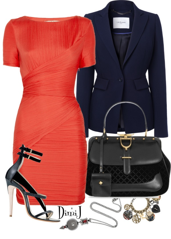 """Coral Dress"" by dimij on Polyvore-- I like the coral and navy combo -- forget the shoes"
