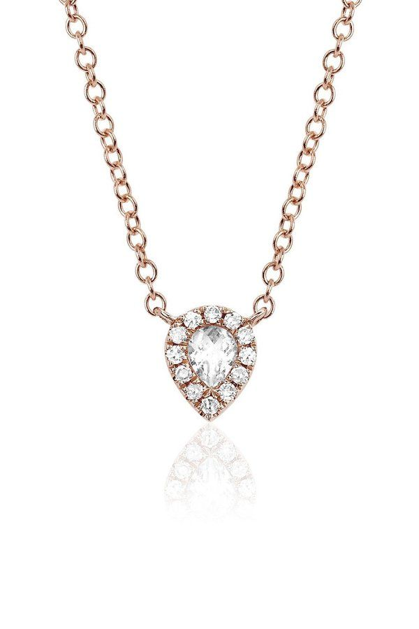 Notes This delicate choker necklace features .04 carat diamonds surrounding a single white topaz stone set in 14k rose gold. This is a great little piece of bling for everyday wear, the type of necklace you will never take off! Composition White Diamonds / White Topez / Rose Gold Measurements Length 14-15.5 in / 35.5-39cm adjustable chain (Total chain length 15.5 in / 39 cm) Care Polishing cloth or professional jewelry cleaner Made in the USA