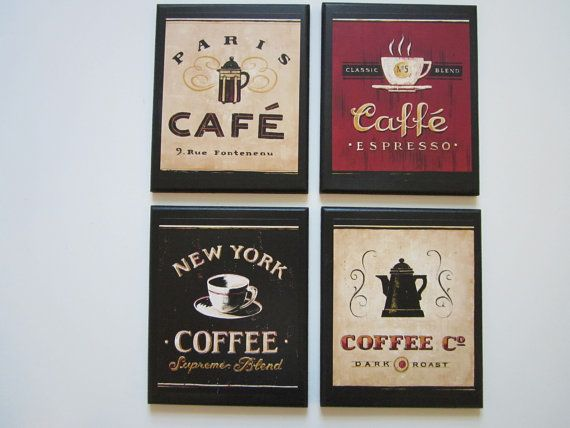 Coffee Shop Plaques 4pc country red kitchen wall decor signs Paris Cafe New York plaque sign on Etsy, $17.97