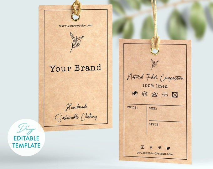 Diy Printable Clothing Hang Tag Template 2x3 5 Etsy Thank You Card Template Custom Hang Tags Tag Template