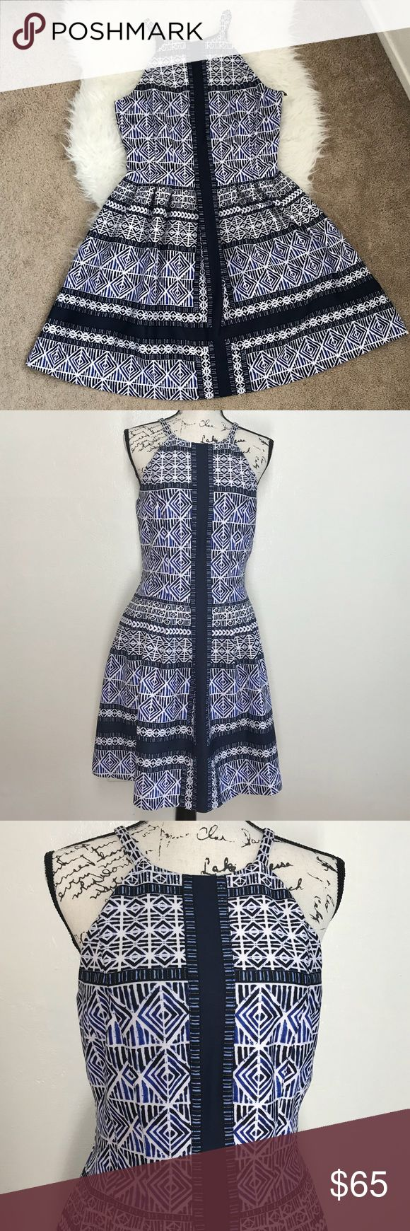 """🆕 Vince Camuto Scuba Blue Halter Fit Dress * Vince Camuto Scuba Halter Fit Dress * Blue/White/Black  * Size 10 * Material: Shell 95% polyester, 5% spandex. Lining: 100% polyester * Features: fleats, zipper closure on back, above/ knee length.  * App Measurements: 38"""" length, 17"""" pit to pit, 15"""" waist area. * New with tag! Beautiful dress & nice quality fabric! * added a belt for possible styling option. Not included in the sale! 🤗 Vince Camuto Dresses"""
