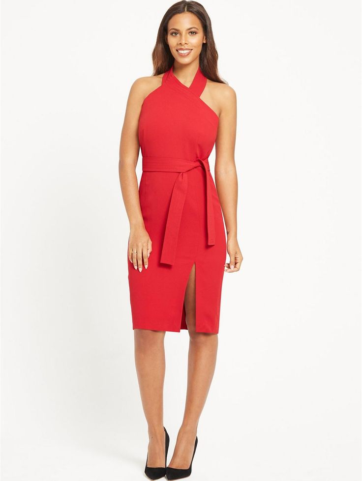 Rochelle Humes Halter Neck Fitted Dress - Red, http://www.very.co.uk/rochelle-humes-halter-neck-fitted-dress-red/1600106494.prd