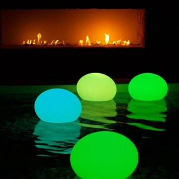 Place a glow stick in a balloon for pool lanterns. Cool idea