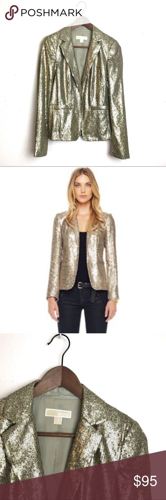 "NWOT // Michael Kors Gold Sequin Blazer Jacket Michael Kors Gold Sequin Blazer Jacket. 22"" long. 24"" sleeve. Sequins are matte gold and bronze giving this jacket a reptile pattern. Sleeves, pockets and back slit are still sewn shut. I've looked over it in detail and I can only tell two sequins are missing otherwise in excellent condition. Size 2. Please feel free to ask questions or make on offer! Michael Kors Jackets & Coats Blazers"