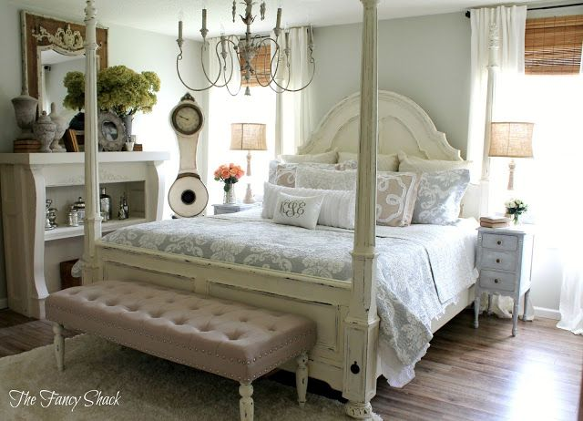 The fancy shack master bedroom makeover reveal moonshine from benjamin moore paint colors Master bedroom makeover pinterest