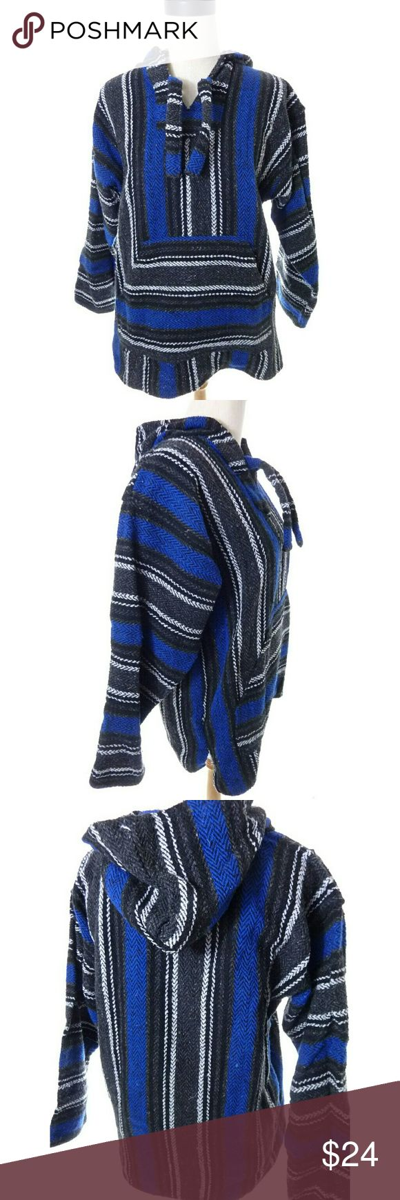 """Mexican Pullover Hoodie Mexican surfer pullover tag size M armpit to armpit is 21"""" across when flat shoulder to hem is 27"""" good used condition  ws1754 Earth Ragz Sweaters Shrugs & Ponchos"""