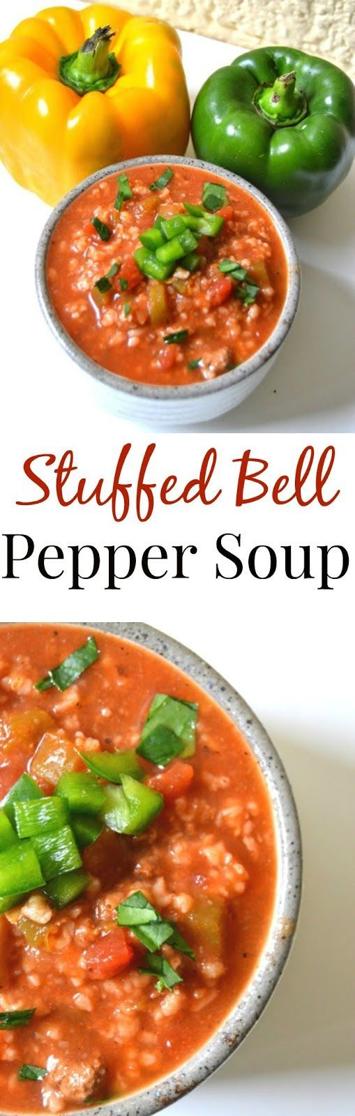 Stuffed Bell Pepper Soup- If you love stuffed bell peppers, you will love this soup! www.nutritionistreviews.com