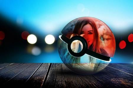 Put your photo to glass pokeball