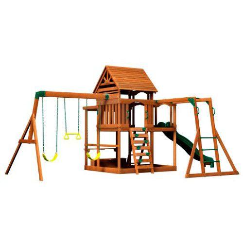 Childrens Wooden Climbing Frame Lawn Playhouse Monkey Bar Swing Set Fun Play New