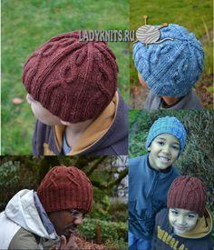 """Вязаная спицами стильная шапка """"Деклан"""" для мужчин и мальчиков"""