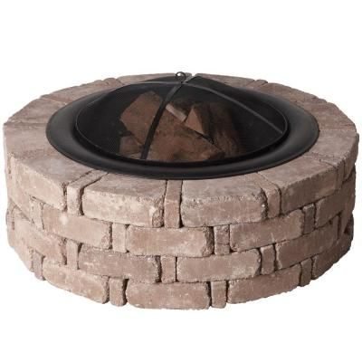 Pavestone 45.8 in. x 14 in. RumbleStone Round Fire Pit Kit in Greystone