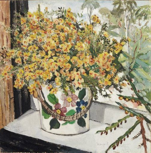 "Margaret Preston   Australia, England, France  b.29 April 1875  d. 28 May 1963  (Australian wild flowers) 1923 oil on canvas on cardboard on hardboard  42.5 x 42cm Signed  and dated  l.l. corner, pencil ""M. Preston/1923"" Exhibition History Australian Art Association (1923), Athenaeum Gallery, Melbourne, 1923 Margaret Preston: the art of constant rearrangement, Art Gallery of New South Wales, Sydney, 27 Dec 1985–09 Feb 1986 Art Gallery of NSW Collection 