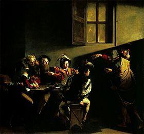 """""""La Vocation de saint Matthieu"""" Caravage (1600) Scène venant de l'Evangile, peu d'explication (Caravage invente la scène): assemblée de collecteur d'impôt, comptant la recette de la journée. Deux personnes entrent dans la scène, quelques personnes se retournes distraitement, avec Matthieu, se désignant de la main, qui est le seul à avoir compris."""