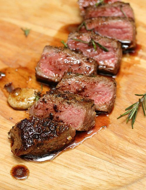 Rosemary Garlic Butter Steak ~ love the tips on how to know when the steak is done :D