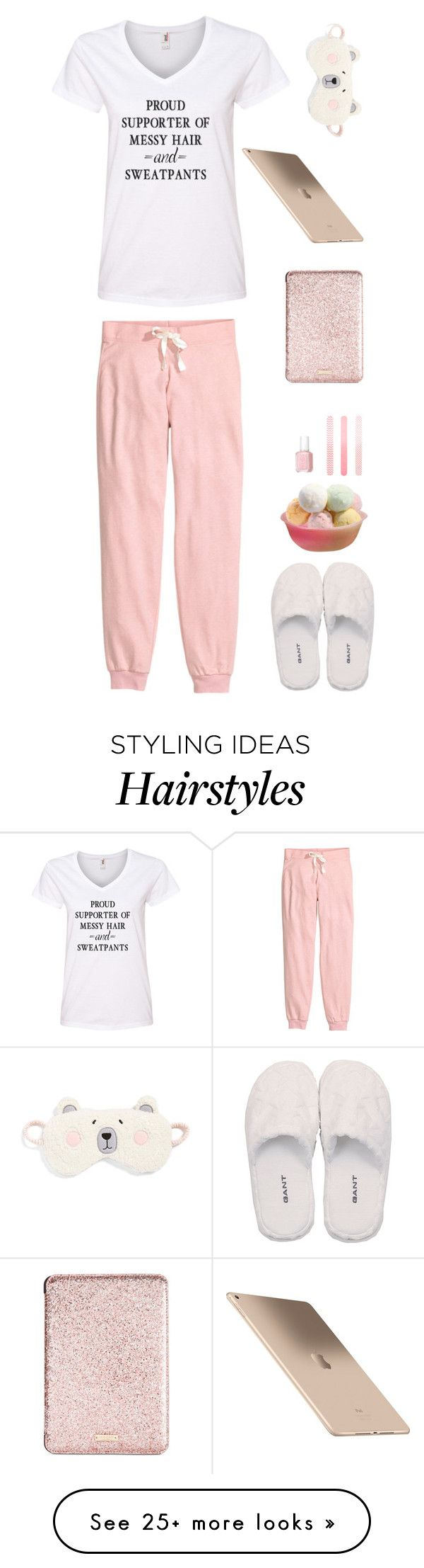 """""""Proud supporter of messy hair and sweatpants"""" by musicfriend1 on Polyvore featuring H&M, GANT, Make + Model, Kate Spade, Accessorize and Essie"""