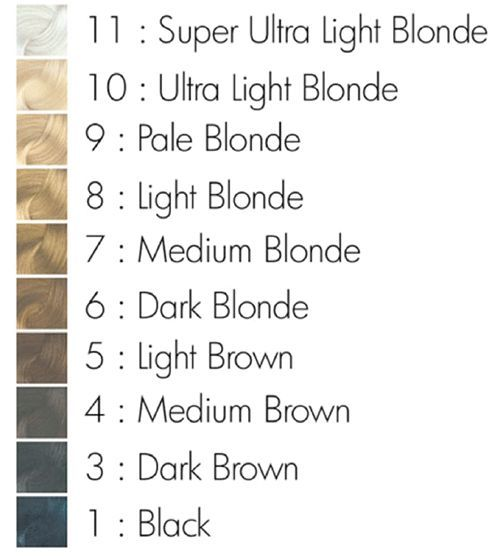 *PLEASE NOTE: Your hair must be a very light blonde (a level 10 and above, see chart below) to achieve the Sterling silver color. Applying Sterling to a darker shade will not produce an accurate Sterl