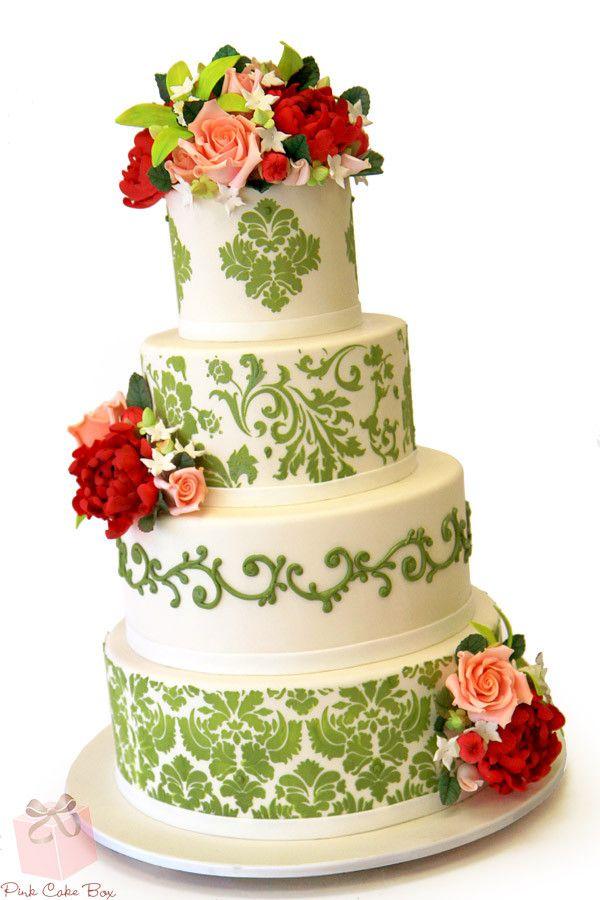 wedding cakes northern new jersey%0A Spring Green Damask Wedding Cake