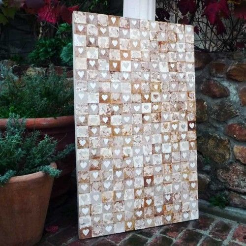 Stretched canvas picture with approximately 120 hand painted / crafted recycled tea bags