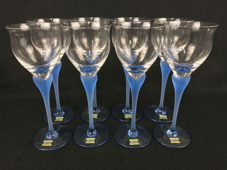 "Mikasa Sea Mist Sapphire EIGHT Crystal 9 3/8"" Blue Stem Water Goblets Glasses #Mikasa"