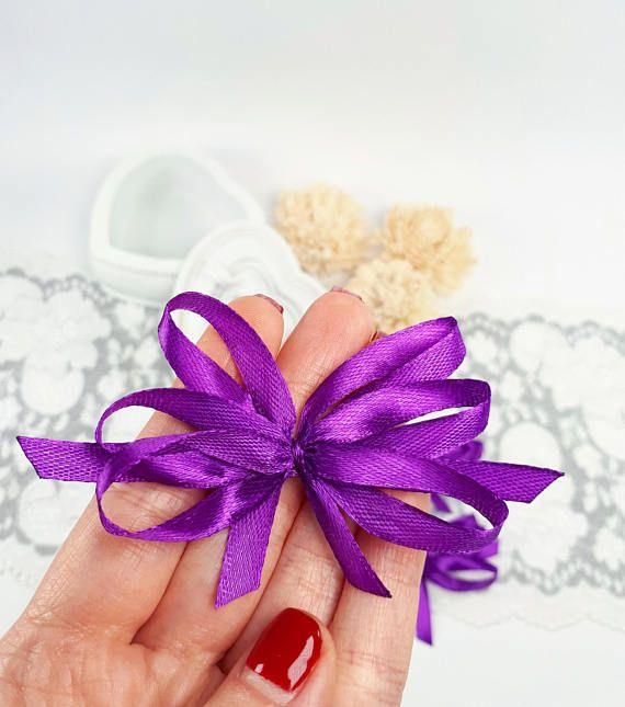 Big purple bows satin ribbon bows appliques purple