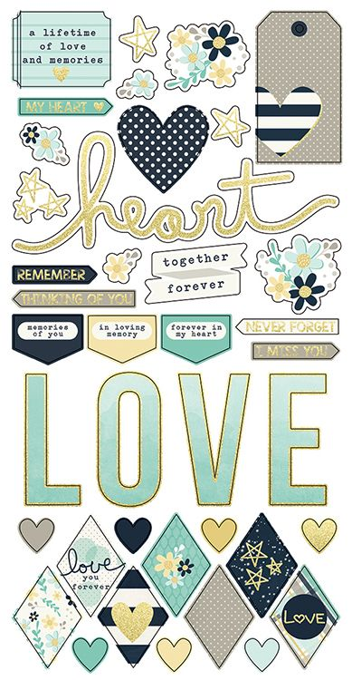 Simple Stories - Heart Collection - Simple Sets - Cardstock Stickers…