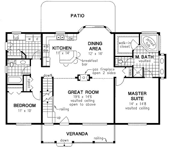 First Floor Plan of Farmhouse House Plan 58548 1858 sq ', Great home, Jetted garden tub, separate shower, loft, guest bedroom down stairs