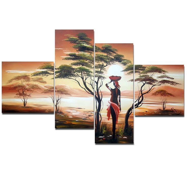 - Description - Why Accent Canvas? This exquisite Woman of Africa Landscape Canvas Wall Art Oil Painting is 100% hand-painted on canvas by one of our master artists. Each artists begins with a blank c