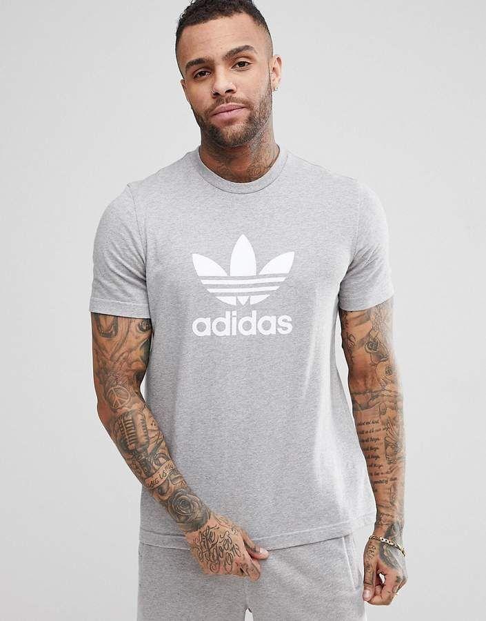 Adidas Originals Adicolor T Shirt With Trefoil Logo In Grey