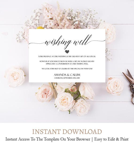 Elegant Wishing Well Printable Template Editable Well Wishes Card Diy Wishing Well Printable Honeymoon Wish Calligraphy Script Font C8 Diy Wedding Invitations Templates Printable Wedding Invitations Wedding Invitations Diy
