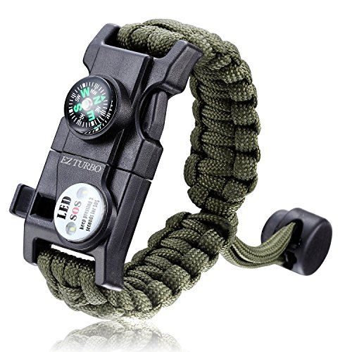 Survival Bracelet, EZ Turbo 20 in 1 Survival Paracord Bracelet, Survival Gear Kit with SOS LED Light, Emergency Knife, Whistle, Compass, Fire Starter for Camping, Climbing, Waterproof, Green. For product & price info go to:  https://all4hiking.com/products/survival-bracelet-ez-turbo-20-in-1-survival-paracord-bracelet-survival-gear-kit-with-sos-led-light-emergency-knife-whistle-compass-fire-starter-for-camping-climbing-waterproof-green/