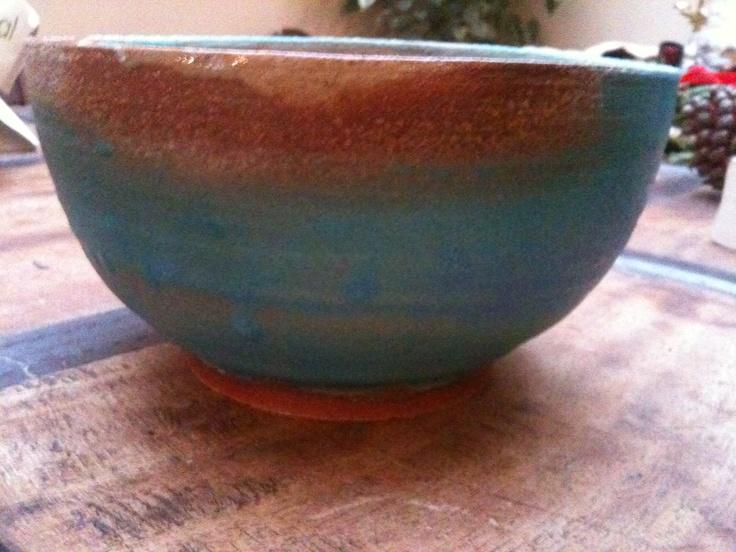 Dolphin blue glazed stoneware bowl I made 2011