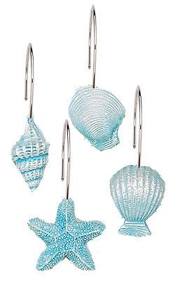 Blue Sea Shells & Starfish Resin Shower Curtain Hooks Set Oceanside Beach Theme