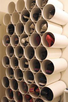 Tubos e canos PVC para guardar calçado.